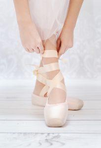 Ballerina's Hands Tying Pointed Shoe Copy